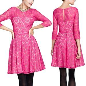 French Connection Hot Pink Long Sleeve Lace Dress